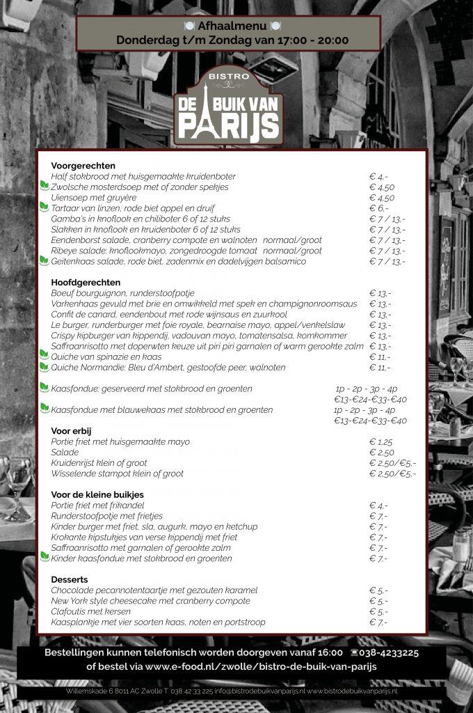 afhaal menu